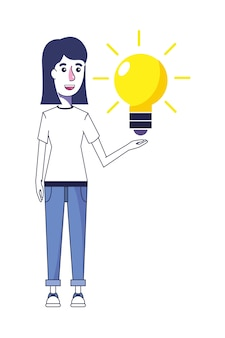 Woman with casual clothes and bulb idea