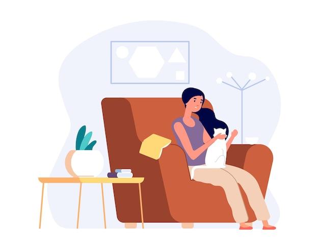 고양이와 여자입니다. 소녀는 아늑한 거실에서 편안하고 새끼 고양이를 쓰다듬어줍니다. 자기 고립, 내성 또는 독신 생활. 애완 동물 음료 커피, 벡터 일러스트와 함께 여성입니다. 고양이를 안고 있는 여성을 위한 아늑한 의자