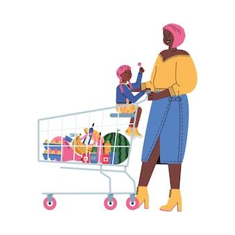 スーパーマーケットのフラットイラストで買い物をする子供を持つ女性