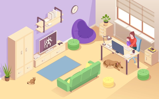Woman with child working at home isometric view on living room with young mother and kid at desk