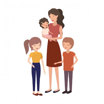 Woman with children avatar character