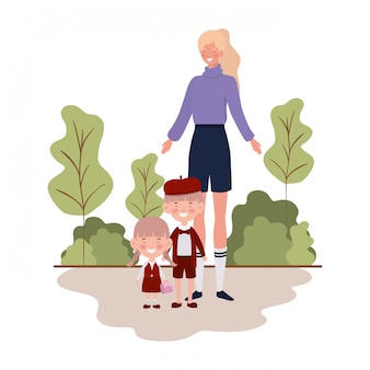 Woman with children of back to school