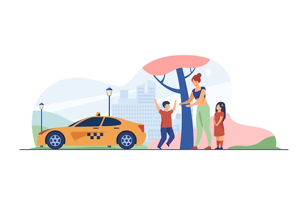 택시를 잡는 아이들과 여자입니다. 아이, 차량, 도시 평면 벡터 일러스트 레이 션. 교통 및 도시 생활