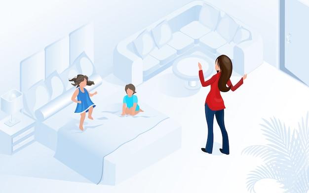편안한 현대 방에 아이들과 여자