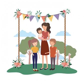 Woman with children in landscape avatar