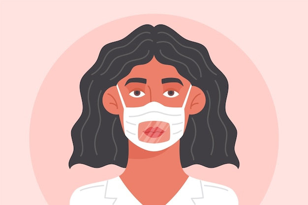 Woman with clear face mask for deaf