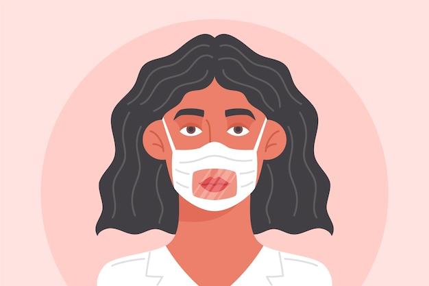 청각 장애인을위한 맑은 얼굴 마스크를 가진 여자