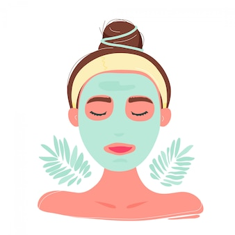 Woman with closed eyes in facial mask