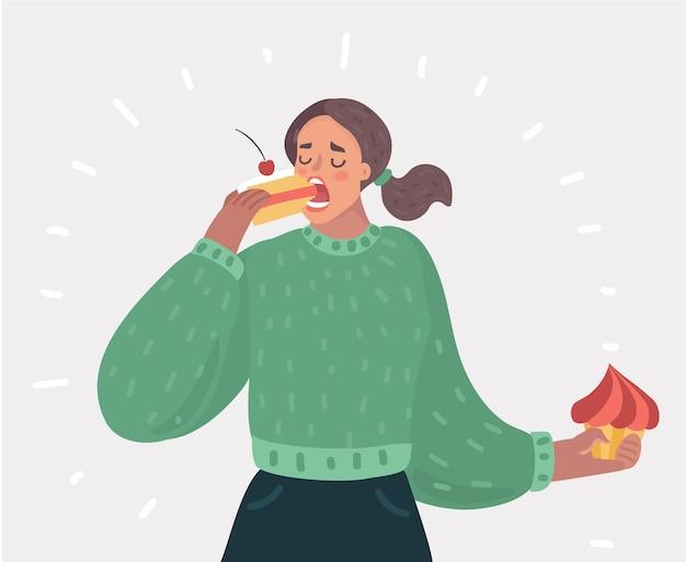 目を閉じてケーキを食べている女性
