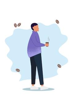コーヒーを持つ女性。腕を組んで立っている、ホットコーヒーのマグカップを保持しているカジュアルな服装の若い黒髪の女性。図。