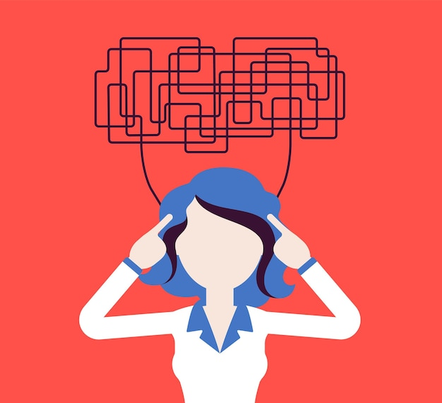 혼란스러운 생각을 가진 여성은 결정을 위해 명확하게 생각할 수 없습니다. 복잡하고 혼란스러운 생각이 무질서하고 관리자가 작업에 혼란스러워하며 머리가 문제로 가득 차 있습니다. 벡터 일러스트 레이 션, 얼굴 없는 캐릭터