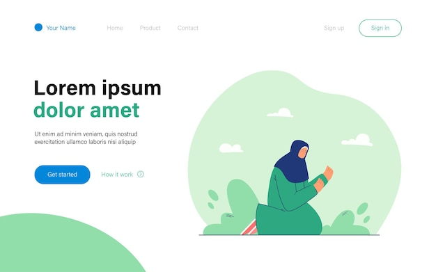 Woman with covered head praying at night landing page template