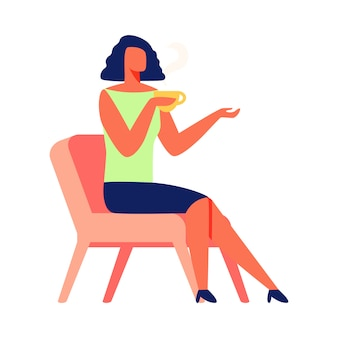 Woman with cup tea sits on chair. white background