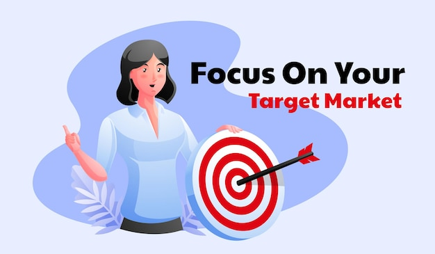 Woman with dart and arrow focus on target market
