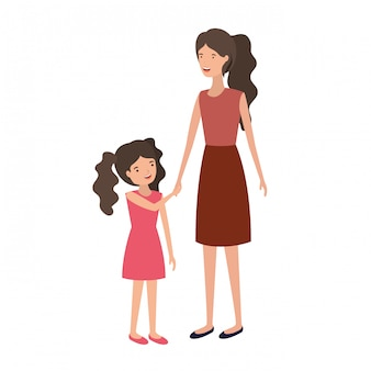 Woman with daughter avatar character