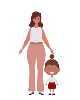 Woman with daughter of back to school