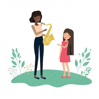 Woman with daughter and saxophone avatar character