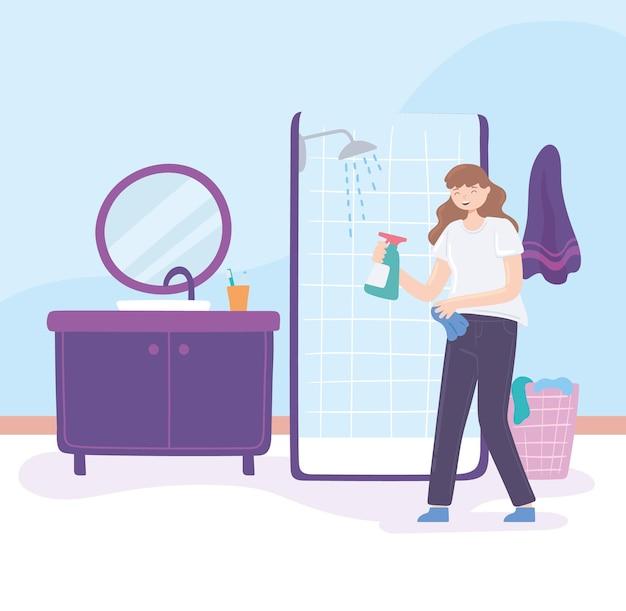 Женщина с моющим средством для чистки