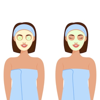 A woman with different cosmetic masks on her face, a mask of cucumbers. quarantine. beauty and health, mental health. personal home care.