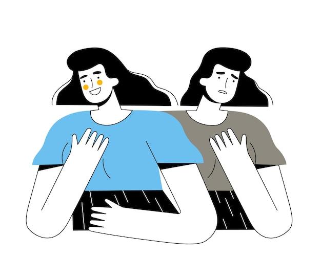 Женщина с разными эмоциями и биполярным расстройством