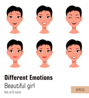Woman with different face expressions