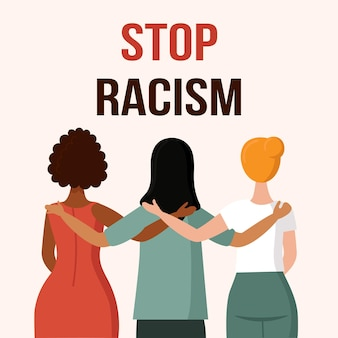 A woman with a different skin color stands with her back the concept of anti racism
