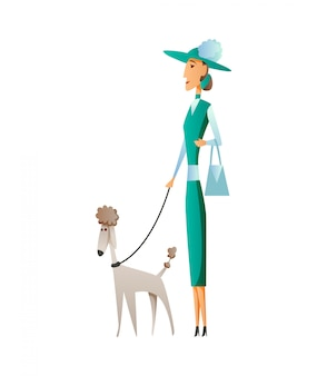 Woman with dog isolated on white background. holding their domestic animal. female flat cartoon character.