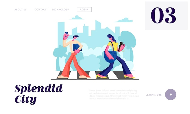Woman with dog and man with phone walking crosswalk in metropolis, city dwellers lifestyle, hurry at work, traffic, weekend. website landing page, web page. cartoon flat vector illustration