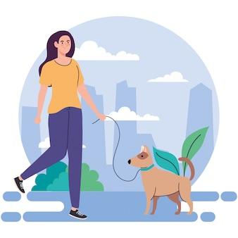 레저 야외 활동을 수행하는 강아지와 여자, 강아지와 함께 산책에 젊은 여자