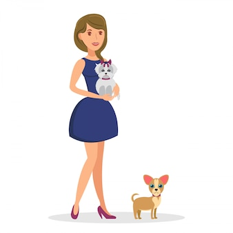 Woman with dogs flat vector color illustration