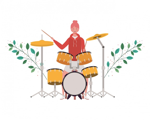 Woman with drum kit and branches and leaves