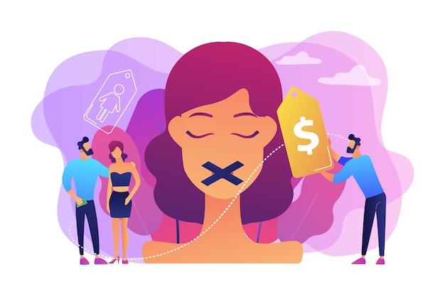 입에 덕트 테이프와 가격표를 붙인 여성이 인신 매매되고 성적으로 착취 당하고 있습니다. 성매매, 인신 매매, 범죄 비즈니스 개념.