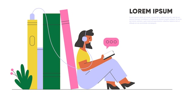 オーディオブックを聞いているイヤホンを持つ女性。オンラインライブラリバナー。コンセプトイラスト。