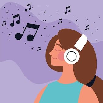 音楽を聴いているイヤホンを持つ女性