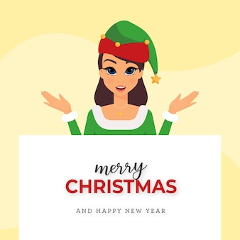 Woman with elf costume wishes merry christmas and a happy new year
