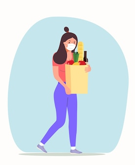 Woman with face mask holding grocery bags. vector flat style illustration.