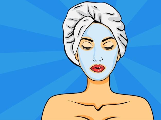 ポップなアートスタイルでフェイスマスクを持つ女性