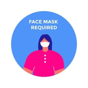 Женщина с лицевой маской в округлой рамке. маска необходима предупреждающий знак предупреждения в круге. изолированные векторные информационные картинки