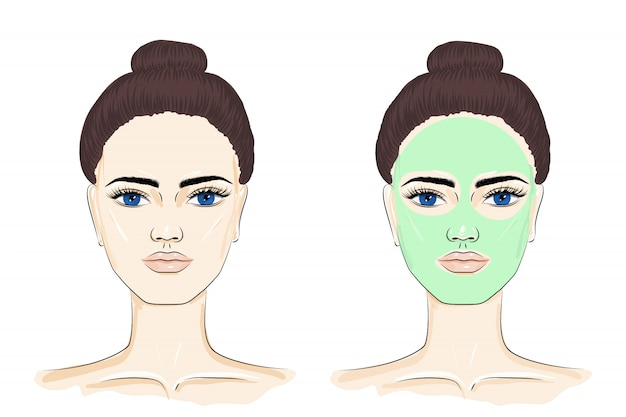 Woman with face mask.