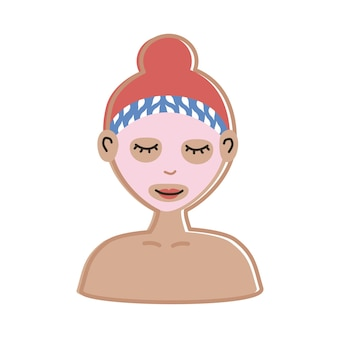 Woman with facial mask character
