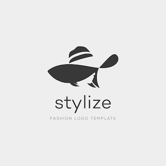 Woman with fashion hat. abstract vector logo design template with girl silhouette. concept for beauty salon, accessories, fashion, cosmetics. - vector illustration