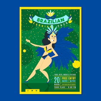 Woman with feathers costume hand drawn brazilian carnival party flyer