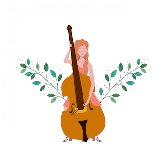Woman with fiddle and branches and leaves