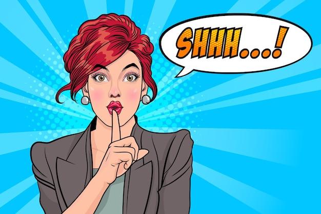 唇に指を置いた女性、メッセージ付きの沈黙ジェスチャーshhhストップトークポップアートスタイル
