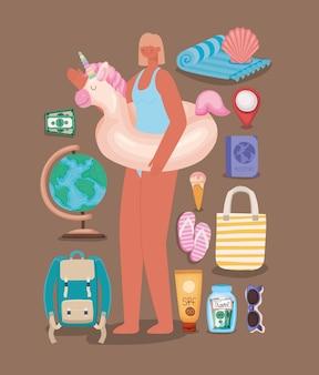 フロートと旅行の要素を持つ女性