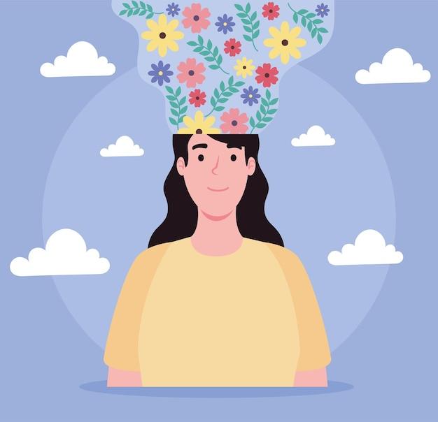 花の流れを持つ女性