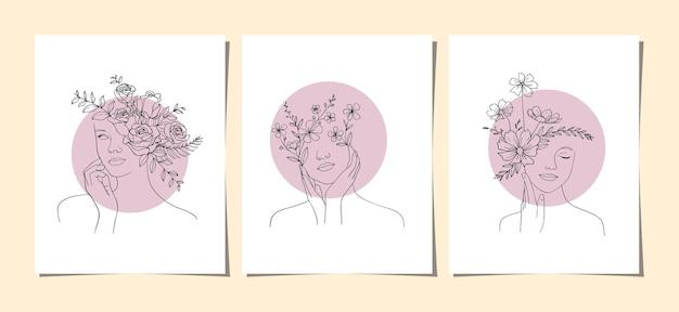 꽃 벽 예술 세트를 가진 여자