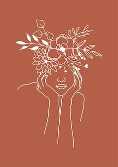 花の頭を持つ女性