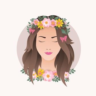 花の装飾デザインベクトルイラストを持つ女性