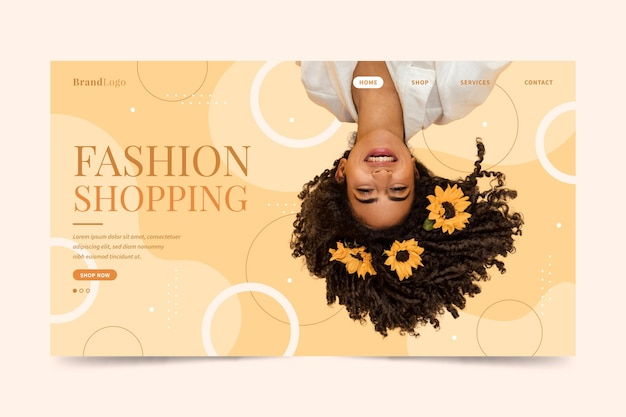 Woman with flowers in hair fashion sale landing page